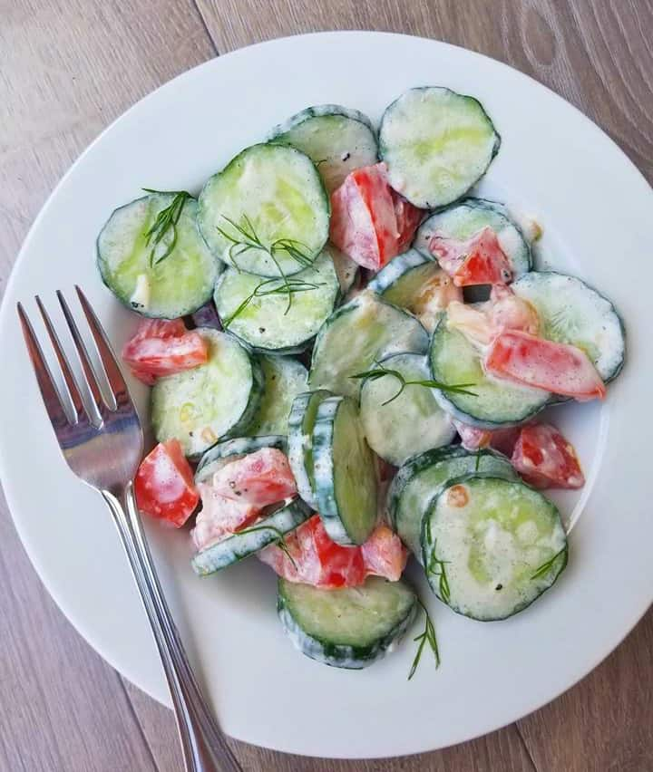 Creamy Lemon Cucumber and Tomato Salad