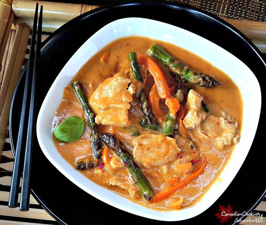Red Thai Curry with Chicken Orange Peppers and Asparagus