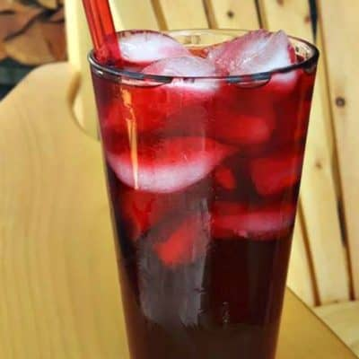 Raspberry Sweet Tea on the patio chair