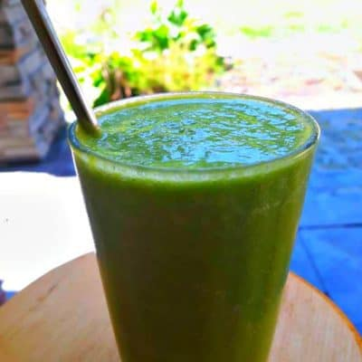 Green Detox Smoothie on the patio