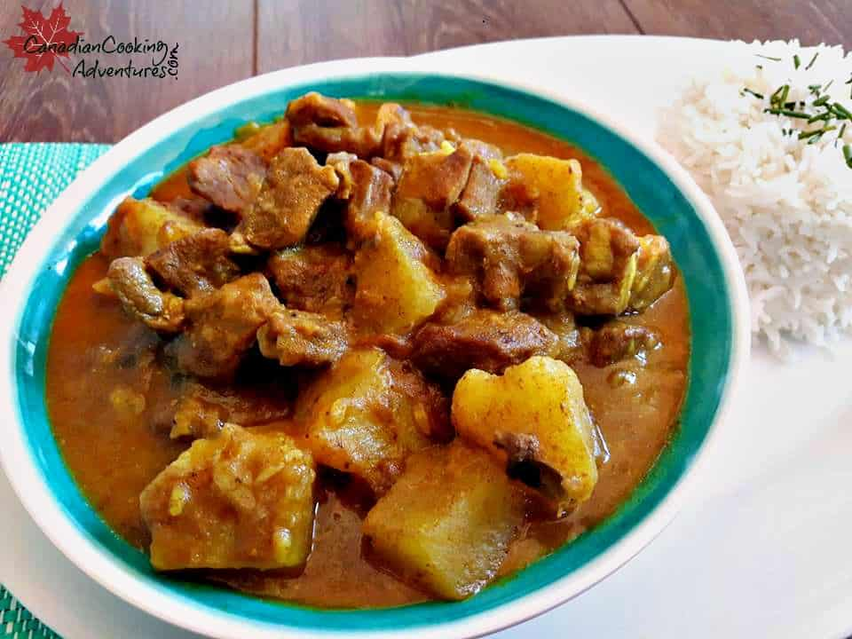 Jamaican Curry Goat with rice