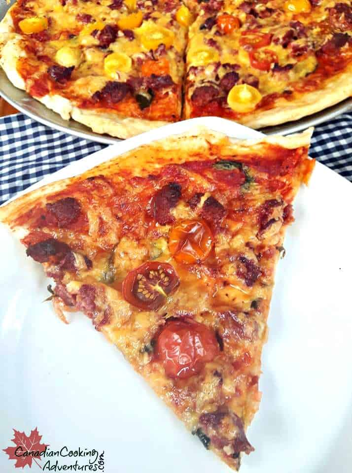 Farmers Sausage with Basil and Baby Tomatoes Pizza