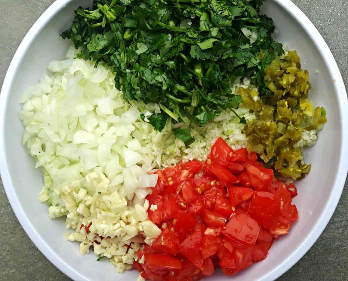 preparing Cabbage Pico De Gallo (Salsa Fresca)