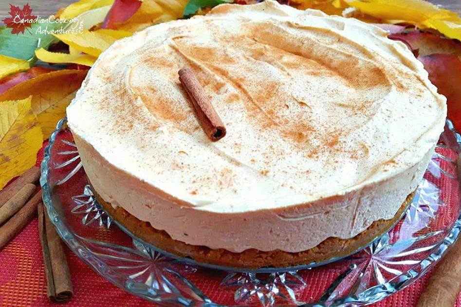 Whole Frozen Pumpkin Spiced Cheesecake (No Bake)