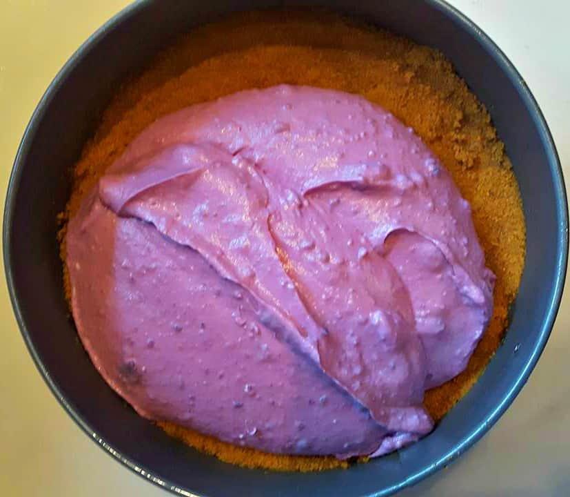 Filling the Purple Yam Cheesecake
