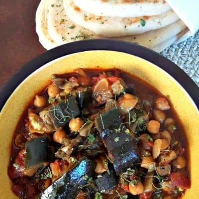 eggplant chickpea curry simmered in spices