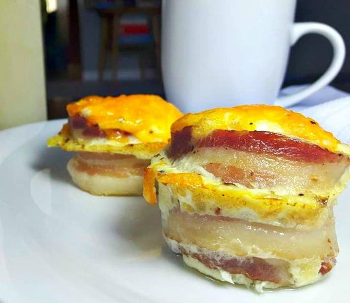 bacon egg cups with coffee