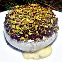 Baked Brie with Pistachios & Pomegranates and Honey