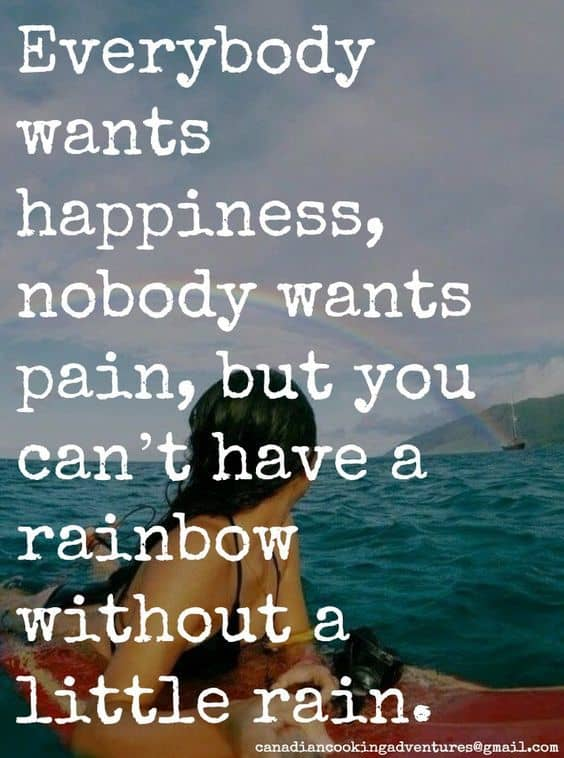 everybody wants happiness nobody wants pain, but you can't have a rainbow without a little rain.