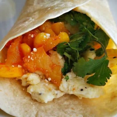 Scrambled Egg Breakfast Wrap with cilantro