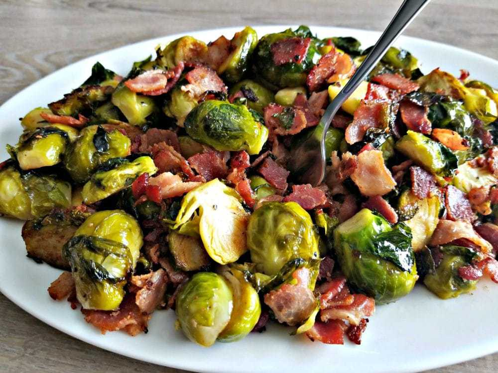 Bacon Brussel Sprouts with a fork