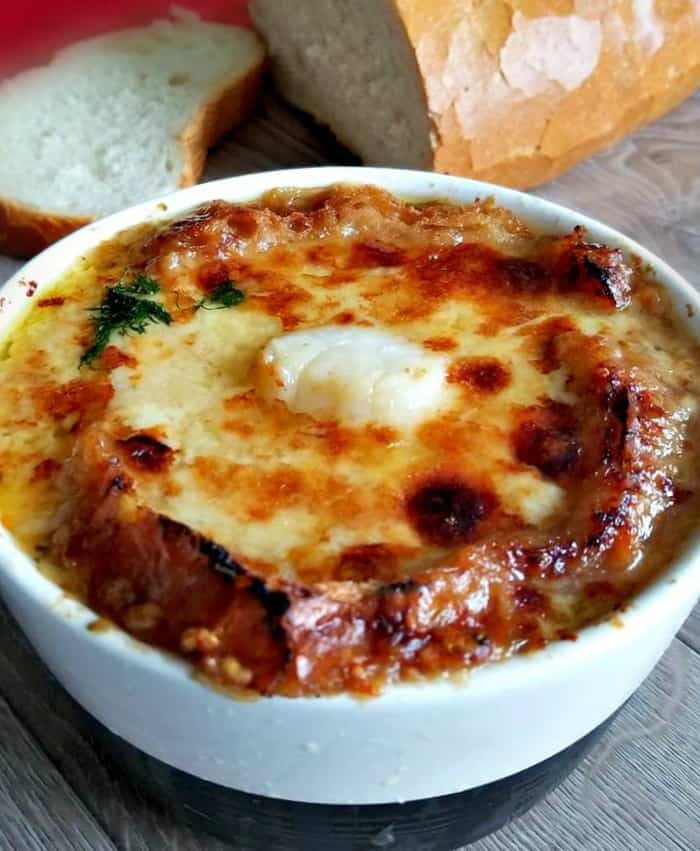 French Onion Soup with Broiled Scallops
