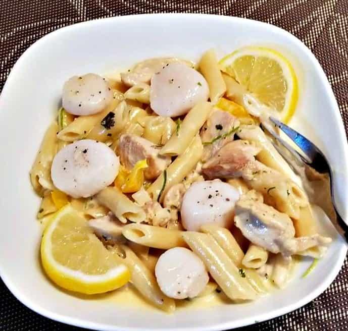 Creamy Parmesan Chicken and Scallop Pasta