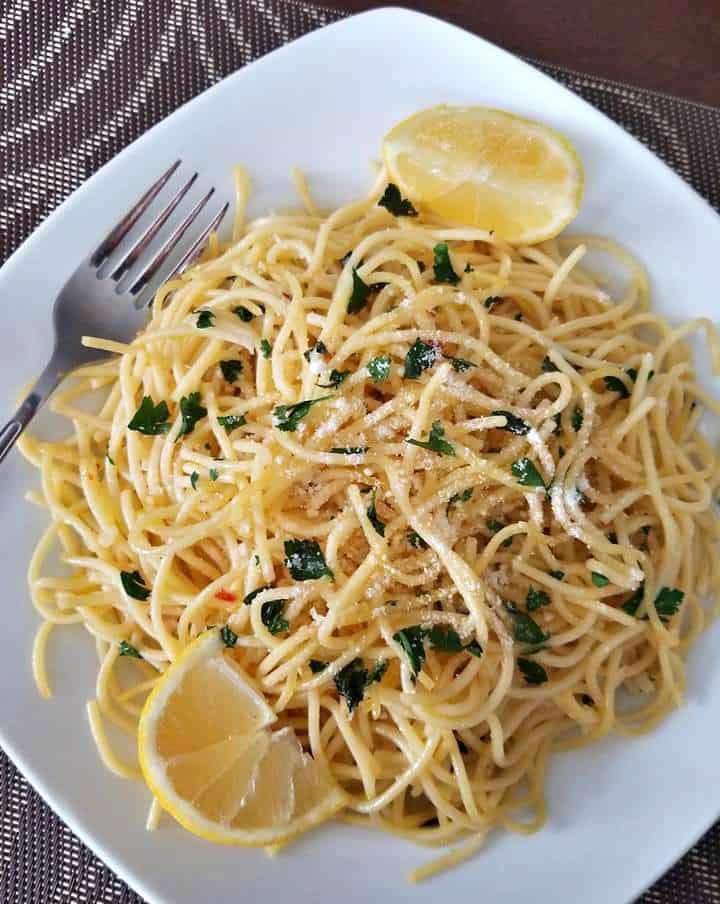 Lemon Parmesan Garlic Spaghetti