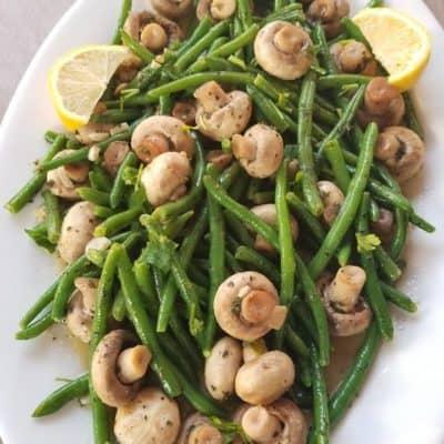 Sauteed Green Bean and Lemon Garlic Mushrooms