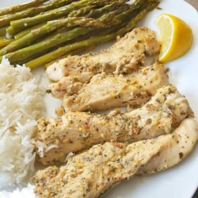 One Pan Lemon Herb Chicken and Asparagus