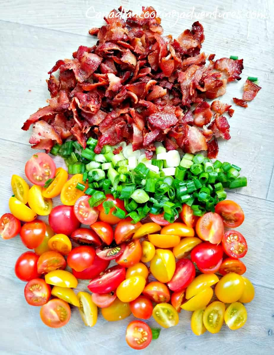 chopped bacon, green onions and baby tomatoes