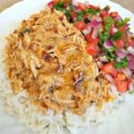 mexican pulled chicken with pico de gallo and rice