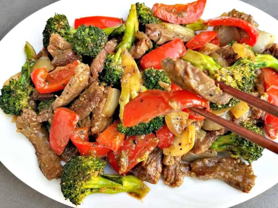 Black Pepper Beef Broccoli Stir Fry