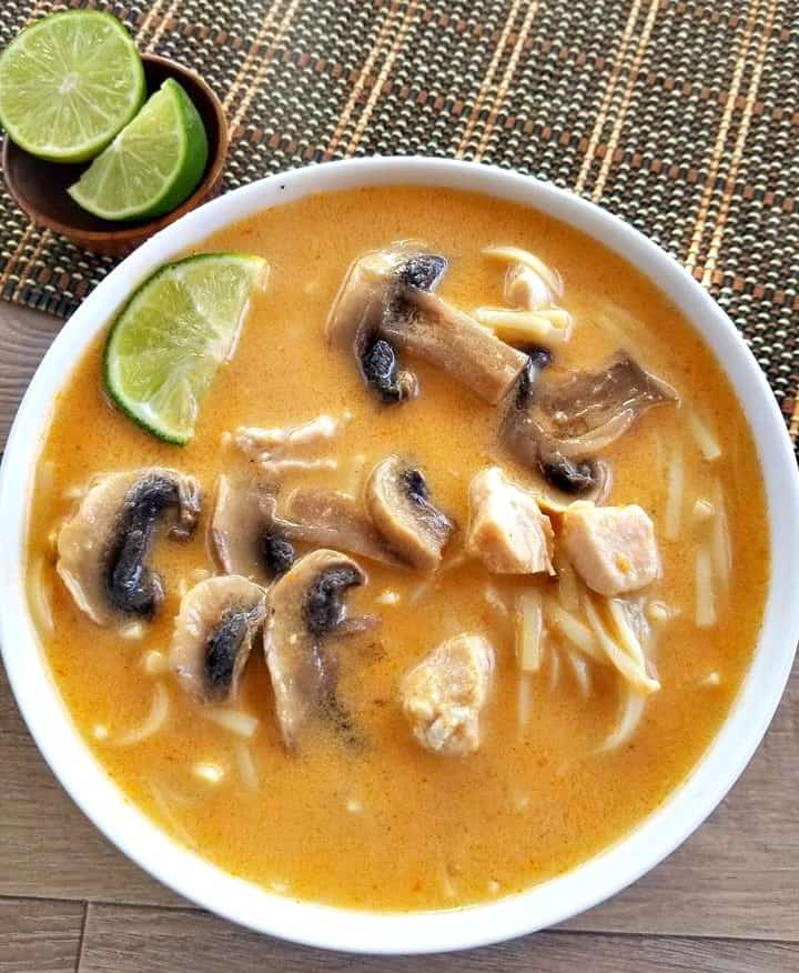 Thai Chicken Noodle Soup with Mushrooms