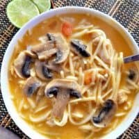 THAI CHICKEN NOODLE AND MUSHROOM SOUP