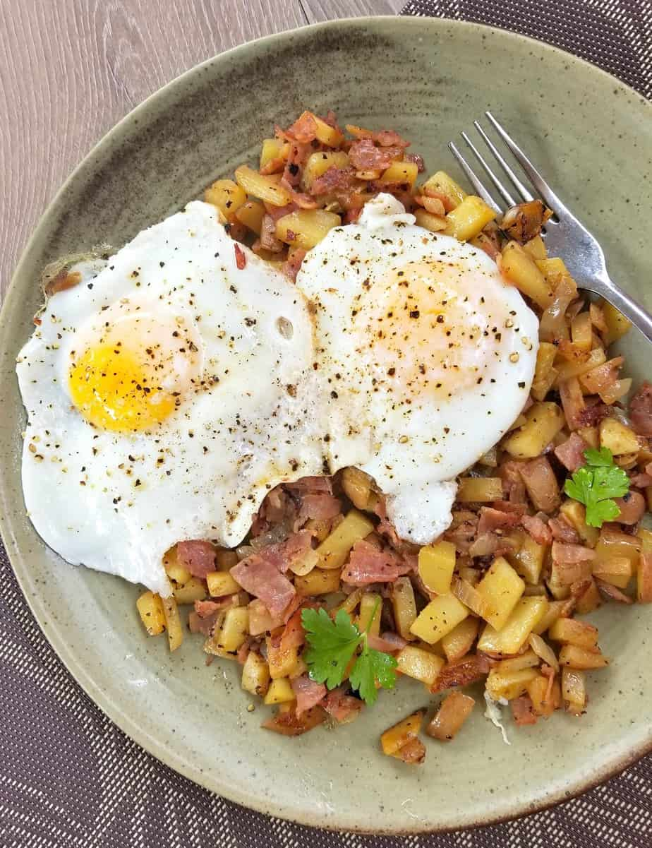 Black Forest Ham Hash Browns with Eggs