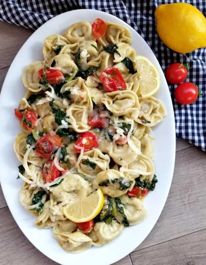 Tortellini in a lemon garlic sauce