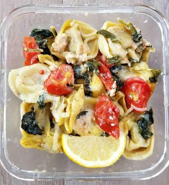 meal prep Tortellini in a Lemon Sauce