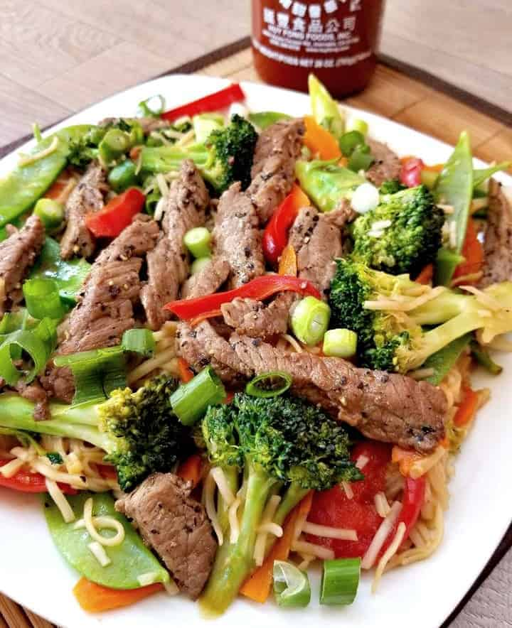Spicy Beef Lo Mein Noodles