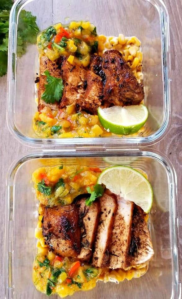 Rosemary Pork Chops with Peach Salsa Meal Preps