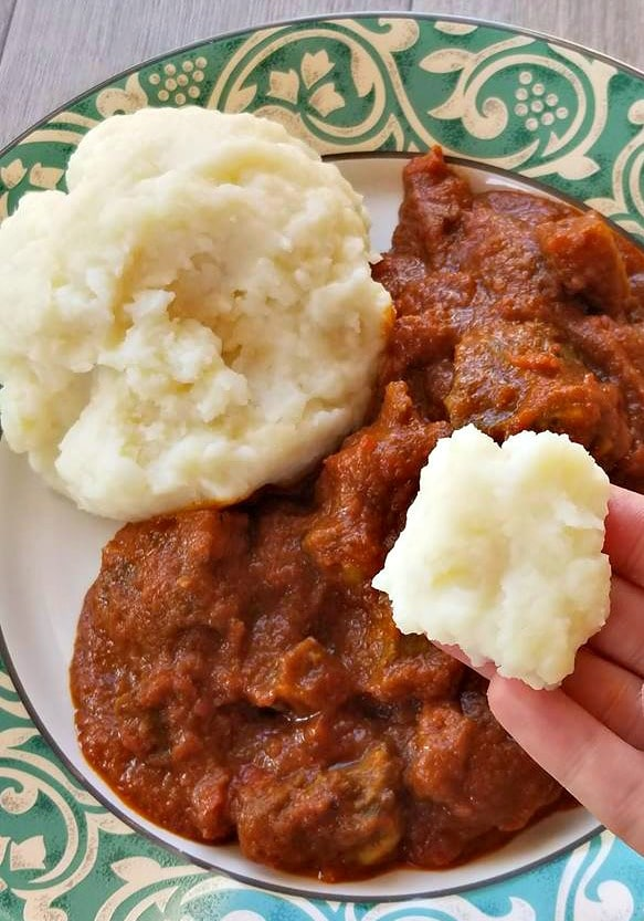 About to enjoy the pounded yam and red stew