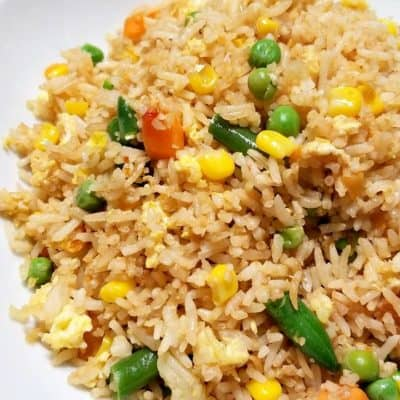 Chinese egg fried rice with vegetables