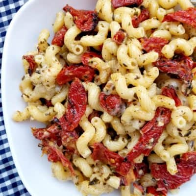 Basil Pesto Pasta with Sundried Tomatoes