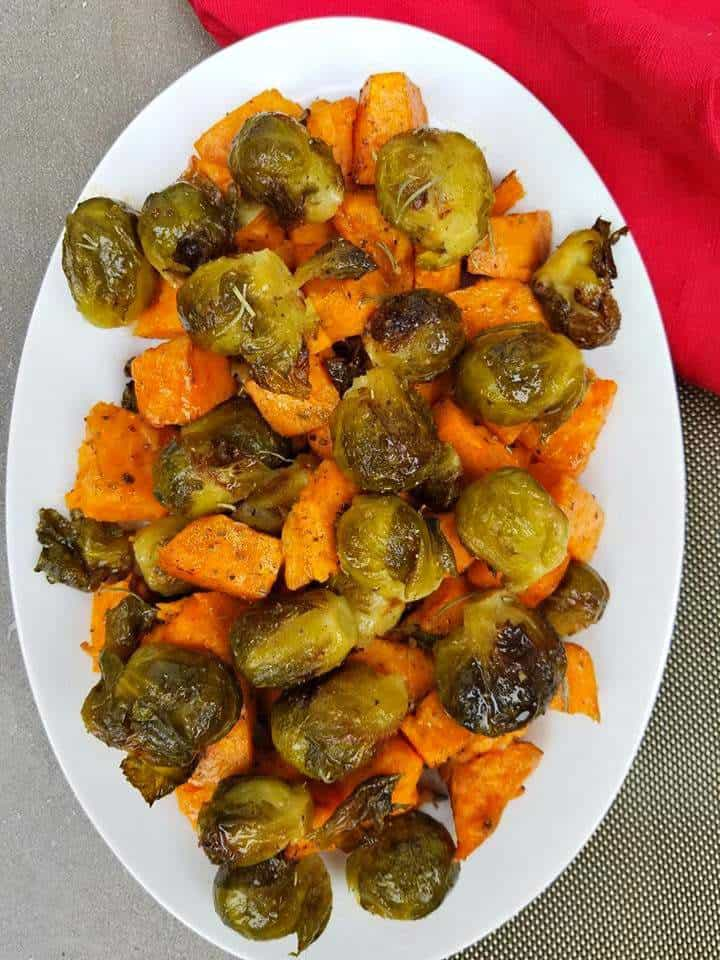 Baked Yams and Brussel Sprouts