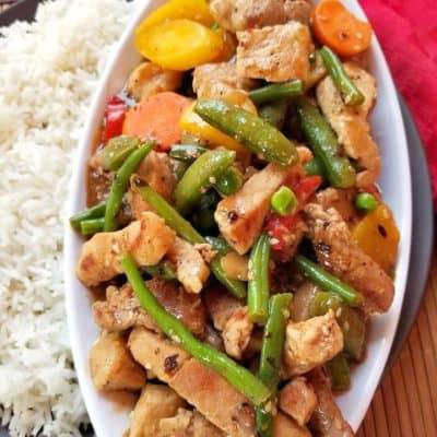 Black Bean Pork Vegetables Stir fry