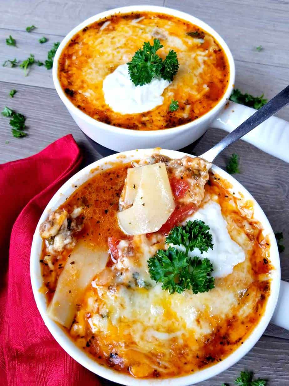 Broiled Lasagna Soup