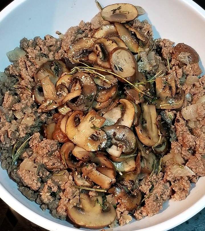 making the Beef and Mushroom Wellington