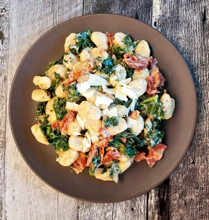 Sun Dried Tomato Kale Gnocchi with parmesan cheese