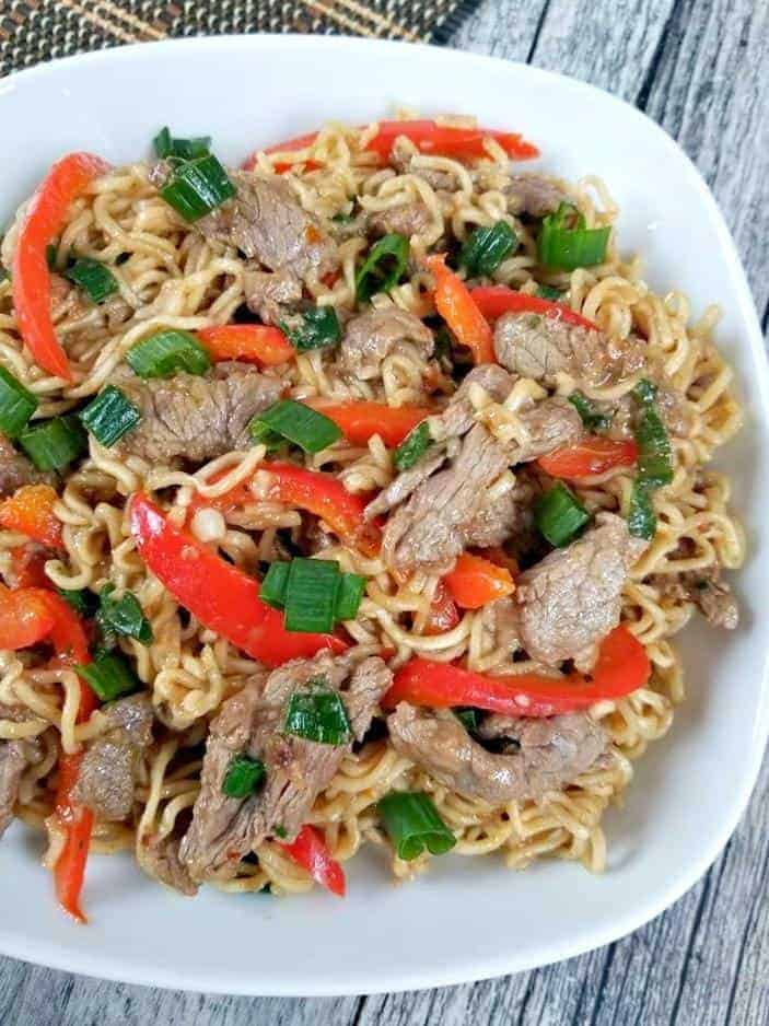 Beef Pepper Ramen Noodle Stir fry