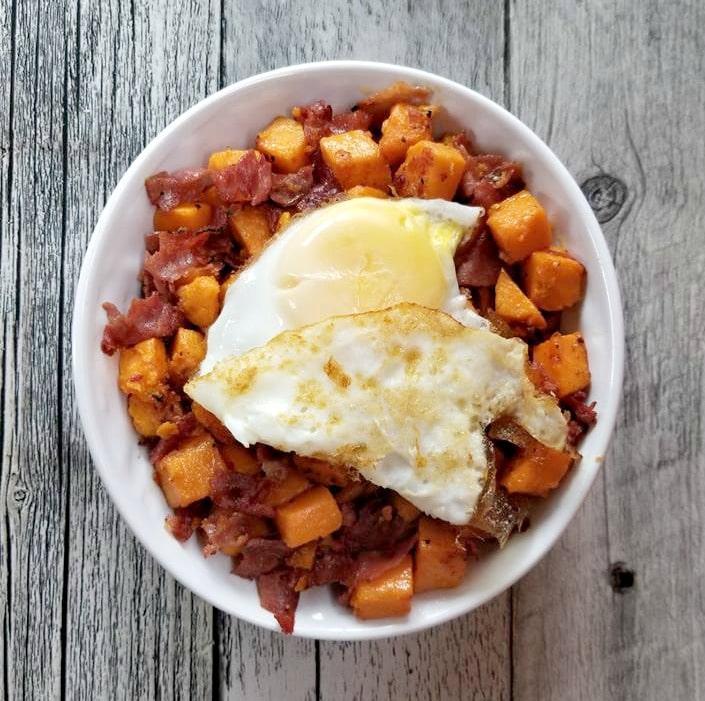 Sweet Potato Ham Hash with Eggs