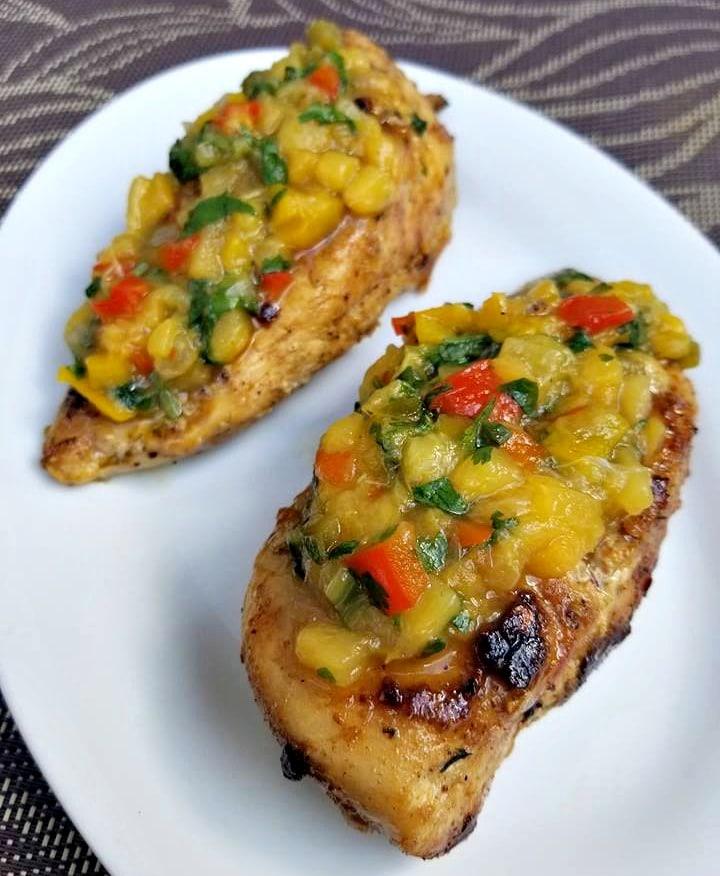 Chicken with Jalapeno Peach Salsa