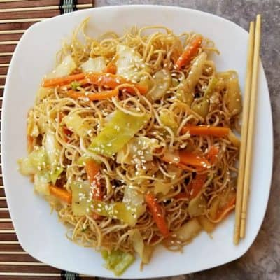 Simple Chow Mein Recipe on a white plate
