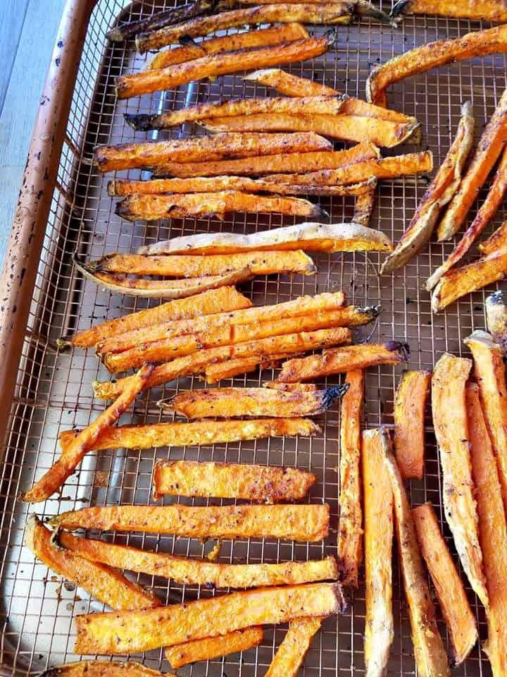 Air Fryer Cajun Sweet Potato Fries on the gotham air fryer pan