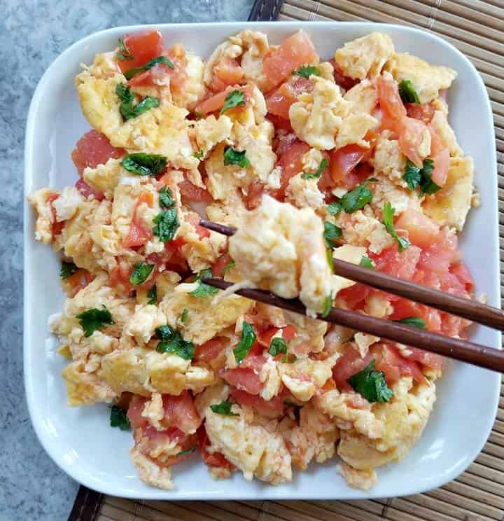 Chinese Eggs and Tomatoes with chopsticks